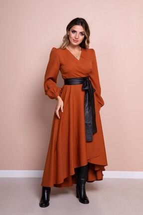 Bidoluelbise Kadın Tarçın Siyah Deri Kemerli Tarçın Uzun Kol Asimetrik Kesim Elbise 4