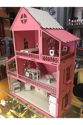 GENÇ MÖBLE Gençmöble - Ahşap Barbi Çocuk Oyun Evi - 60 Cm Pembe 3