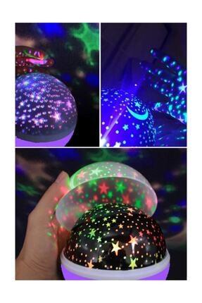 Patladı Gitti Renkli Ve Dönen Star Master Projeksiyon Gece Lambası Mor 2
