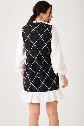 armonika Kadın Füme Yakası Ve Altı Fırfırlı Desenli Elbise ARM-21K001041 2