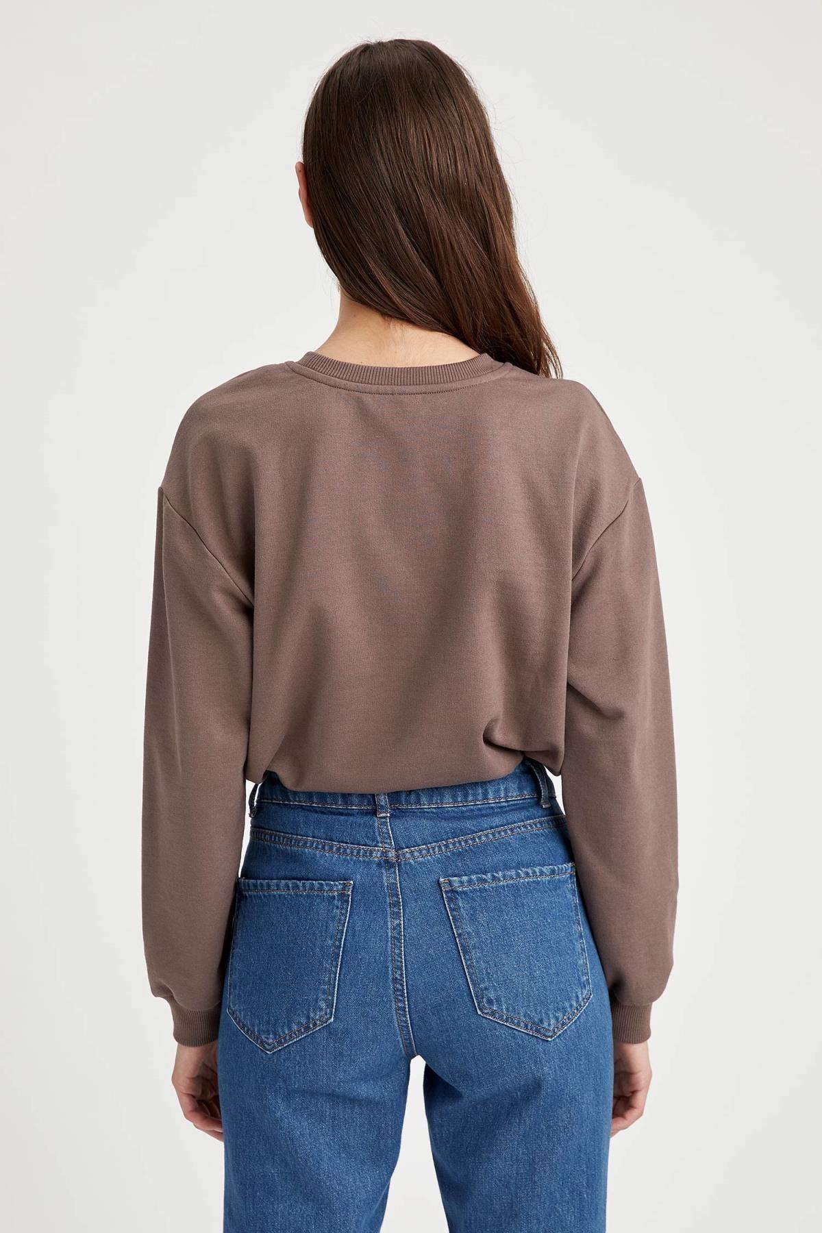Defacto Yarım Düşük Omuz Sweatshirt 3