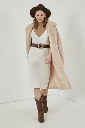 Sateen Kadın Ekru Midi Askılı Triko Elbise  STN220TR338 0