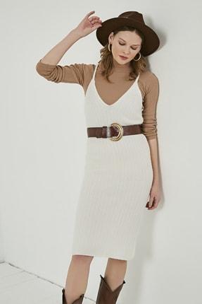 Sateen Kadın Ekru Midi Askılı Triko Elbise  STN220TR338 3