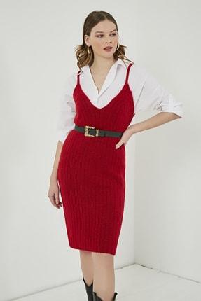 Sateen Kadın Kırmızı Midi Askılı Triko Elbise  STN220TR338 2