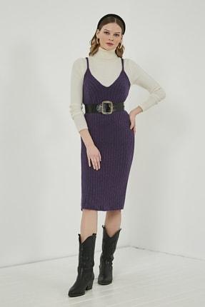 Sateen Kadın Mor Midi Askılı Triko Elbise  STN220TR338 2