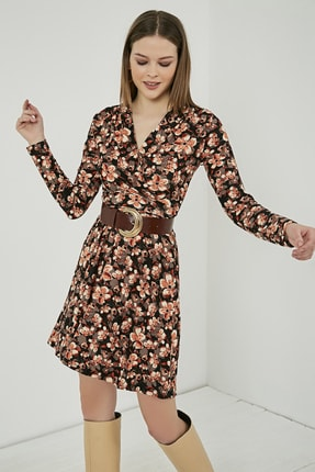 Sateen Kadın Siyah Mercan Uzun Kol Kruvaze Desenli Elbise 3
