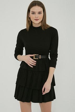 Sateen Kadın Siyah Uzun Kol Kat Detay Kısa Elbise 2