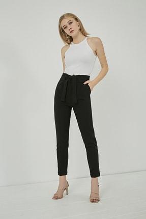 Sateen Kadın Siyah Kuşaklı Yüksek Bel Pantolon 1