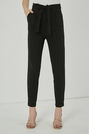 Sateen Kadın Siyah Kuşaklı Yüksek Bel Pantolon 2