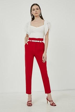 Picture of Kadın Kırmızı Yüksek Bel Pileli Kemerli Pantolon