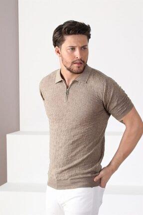 Ferraro Erkek Bej Polo Yaka Fermuarlı Pamuk Triko T-shirt 2