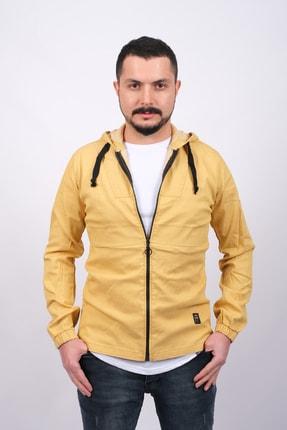 GAMBA Erkek Sarı Kapüşonlu Fermuarlı Sweatshirt 0