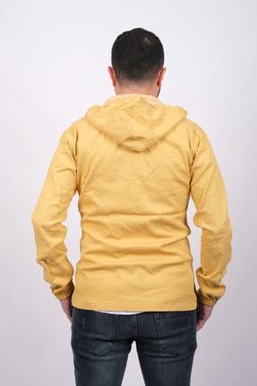 GAMBA Erkek Sarı Kapüşonlu Fermuarlı Sweatshirt 3