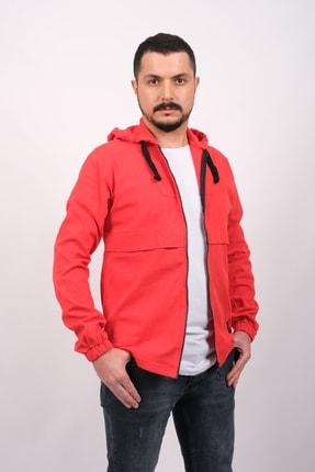 GAMBA Erkek Kırmızı Kapüşonlu Fermuarlı Sweatshirt 1