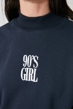 TRENDYOLMİLLA Lacivert Nakışlı Dik Yaka Basic Örme Sweatshirt TWOAW21SW0019 3