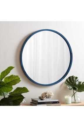 bluecape Doğal Ağaç Masif 50cm Mavi Çerçeveli Antre Koridor Duvar Salon Banyo Ofis Çocuk Yatak Odası Ayna 0