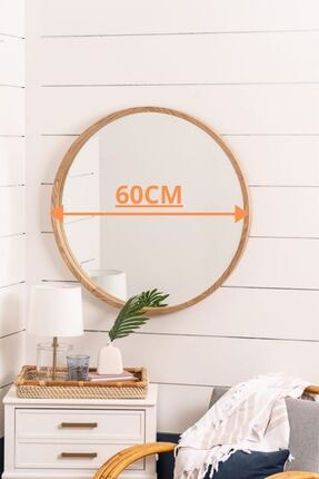 bluecape Doğal Ağaç Masif Çerçeveli Antre Koridor Duvar Salon Mutfak Yatak Odası Ayna 60cm 1