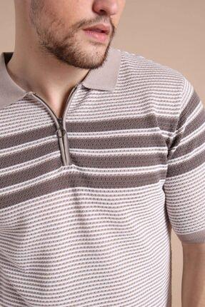 Ferraro Erkek Bej  Polo Yaka Fermuarlı Pamuk Triko T-Shirt 4