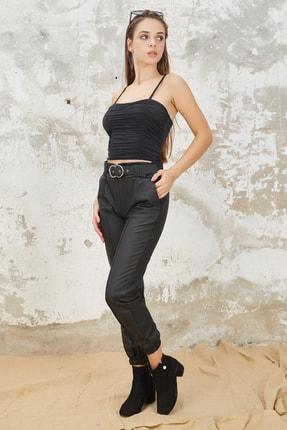 Orjinshop Kadın Siyah Polarlı Kemerli Jogger Suni Deri Pantolon 0