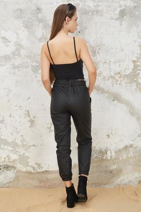 Orjinshop Kadın Siyah Polarlı Kemerli Jogger Suni Deri Pantolon 4