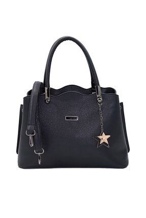 SheBella Bags & Shoes Sorrento Çift Bölmeli Yıldız Anahtarlıklı Siyah Renk Kadın Kol / Omuz Çantası 2