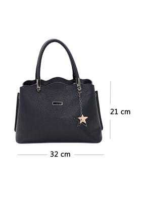 SheBella Bags & Shoes Sorrento Çift Bölmeli Yıldız Anahtarlıklı Siyah Renk Kadın Kol / Omuz Çantası 4