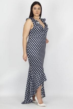 Şans Kadın Lacivert Puan Desenli Volan Detay Elbise 65N19930 1