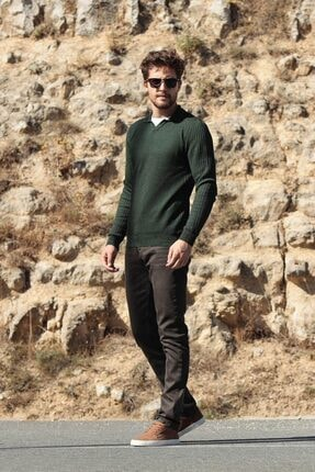 Ferraro Erkek Yeşil    Polo Yaka Pamuk Kazak 1