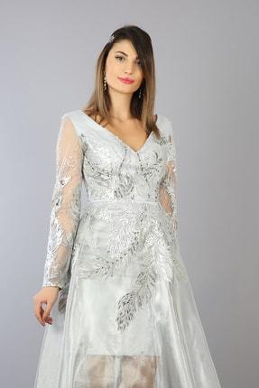 Kadın Gümüş Abiye Elbise 3290