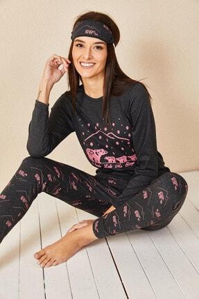 Morpile Kadın Antrasit Baskılı Pijama Takım 1