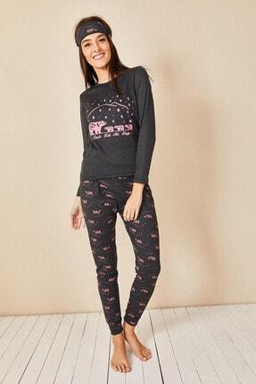 Morpile Kadın Antrasit Baskılı Pijama Takım 3