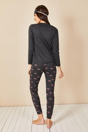 Morpile Kadın Antrasit Baskılı Pijama Takım 4