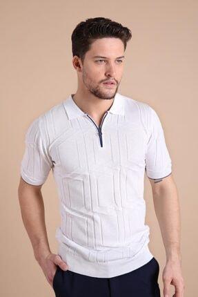 Ferraro Erkek   Beyaz Polo Yaka Fermuarlı  Pamuk Triko T-Shirt 3