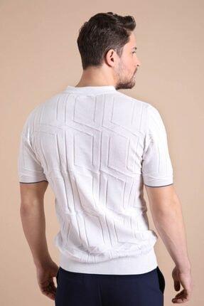 Ferraro Erkek   Beyaz Polo Yaka Fermuarlı  Pamuk Triko T-Shirt 4
