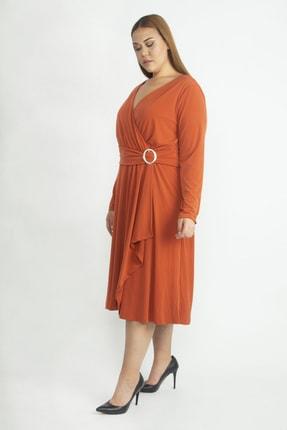 Şans Kadın Oranj Bel Detaylı Abiye Elbise 65N19418 1