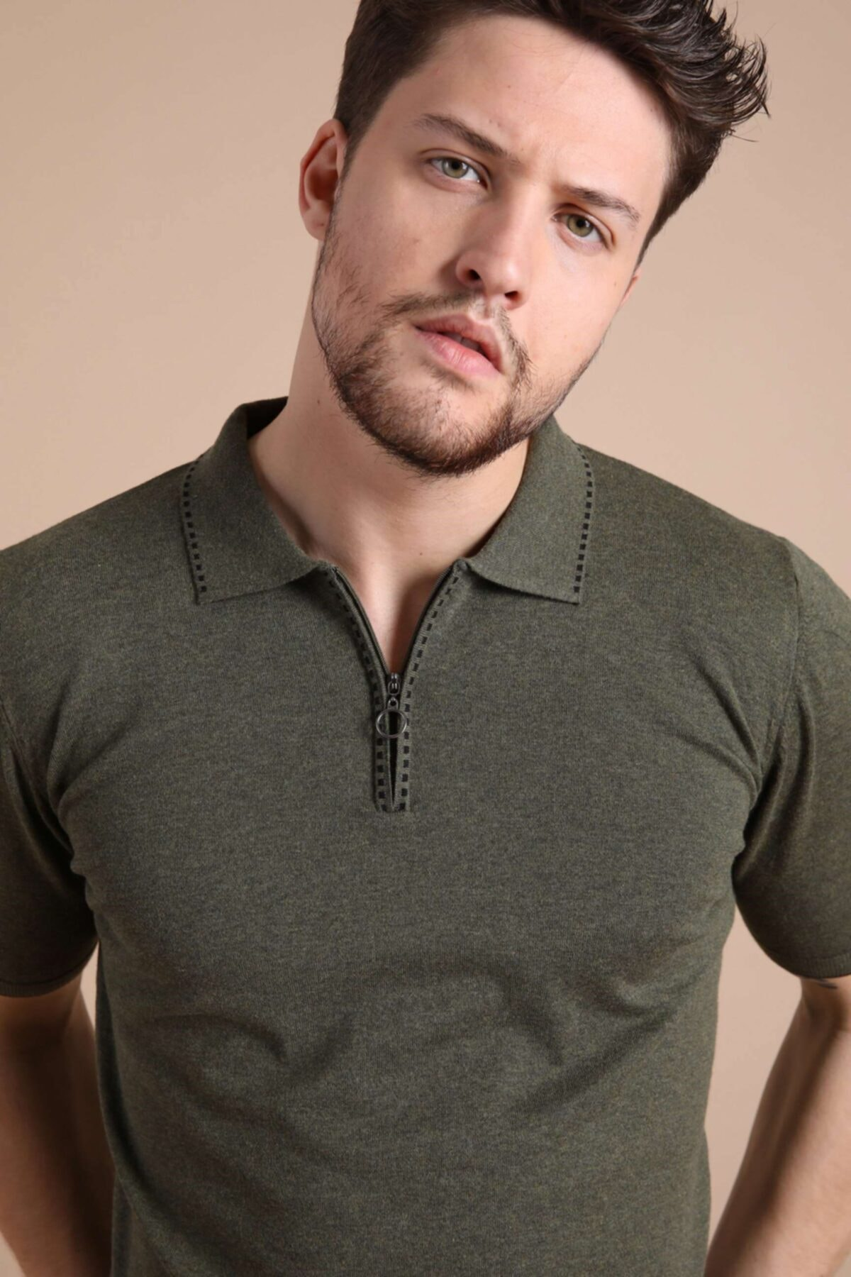 Erkek Haki Polo Yaka Fermuarlı Pamuk Triko T-shirt