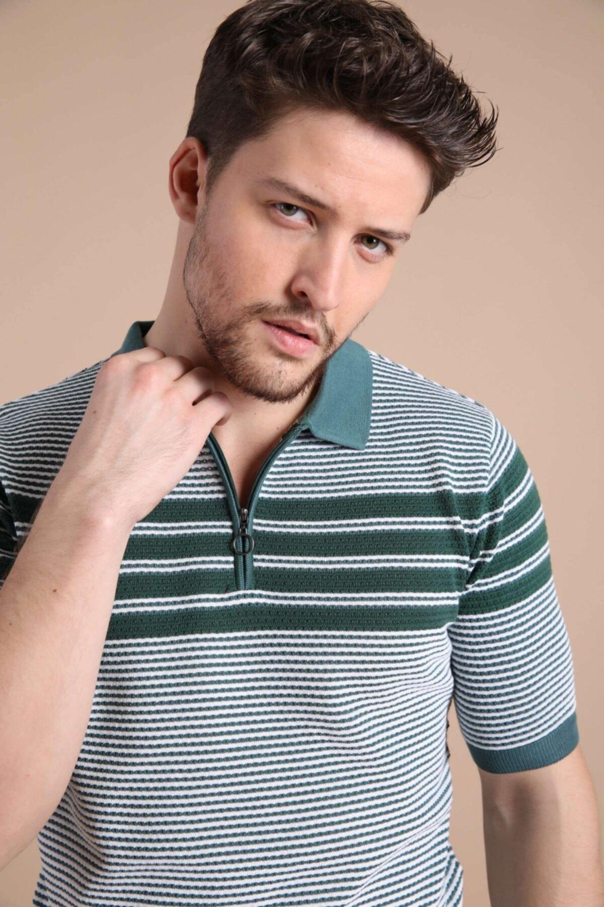 Ferraro Erkek Yeşil Polo Yaka Fermuarlı Pamuk Triko T-shirt