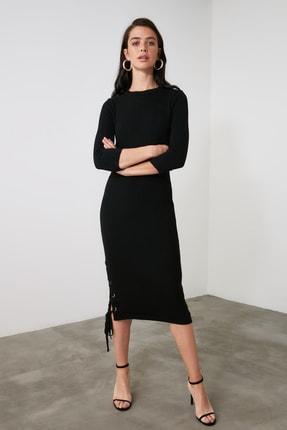 TRENDYOLMİLLA Siyah Bağlama Detaylı Triko Elbise TWOAW21EL2225 1