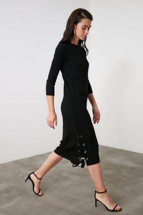 TRENDYOLMİLLA Siyah Bağlama Detaylı Triko Elbise TWOAW21EL2225 2