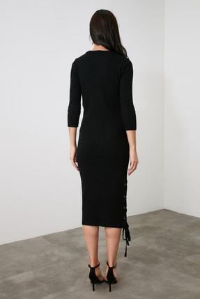 TRENDYOLMİLLA Siyah Bağlama Detaylı Triko Elbise TWOAW21EL2225 4