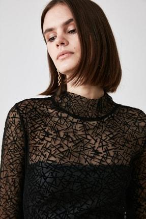 TRENDYOLMİLLA Siyah Tüllü Örme Bluz TWOAW21BZ1198 1