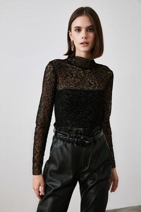 TRENDYOLMİLLA Siyah Tüllü Örme Bluz TWOAW21BZ1198 2