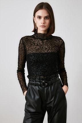 TRENDYOLMİLLA Siyah Tüllü Örme Bluz TWOAW21BZ1198 4