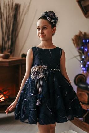 MIALORA EXCLUSIVE Kız Çocuk Lacivert Payetli Inci Kemerli Taçlı Abiye Elbise 0