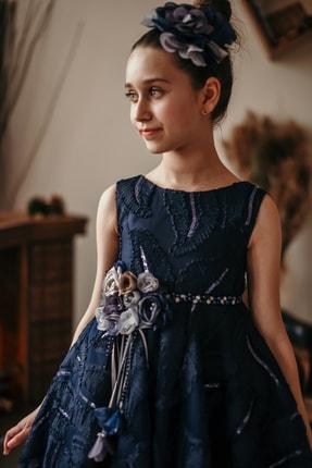 MIALORA EXCLUSIVE Kız Çocuk Lacivert Payetli Inci Kemerli Taçlı Abiye Elbise 4
