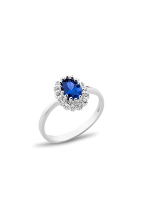 AG SİLVER Oval Zirkon Taşlı Anturaj Modeli Mavi Gümüş Bayan Yüzüğü 0