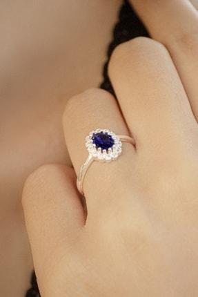 AG SİLVER Oval Zirkon Taşlı Anturaj Modeli Mavi Gümüş Bayan Yüzüğü 1