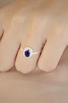 AG SİLVER Oval Zirkon Taşlı Anturaj Modeli Mavi Gümüş Bayan Yüzüğü 2