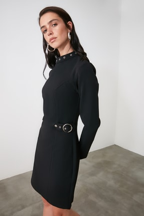 Siyah Kemer Detaylı Elbise TWOAW21EL1640