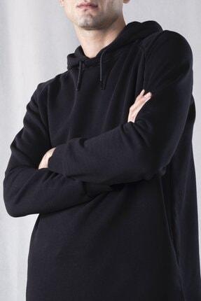 tinbasic Kapşonlu %100 Pamuk Örme Erkek Sweatshirt Hoodie - Siyah 1